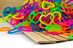 Close up of color full elastic love heart shape loom bands rainb Royalty Free Stock Photography