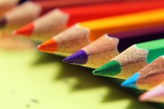 The color pencils`s Point. The close-up of color pencil`s point with blur background stock images