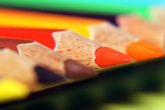 A red color pencils`s Point. The close-up of red color pencil`s point with blur background with other color pencils stock images