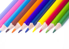 Close up of color pencils. Over white background Royalty Free Stock Image
