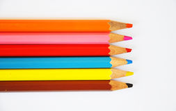 Close up of color pencils with different color Royalty Free Stock Images