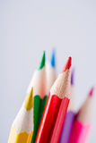 Close up of color pencils with different color over light background Stock Image
