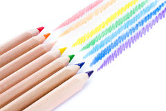 Close up of color pencils with different color over white backgr Stock Photos