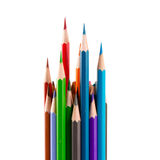 Close up of color pencils with different color over white backgr. Ound Stock Image