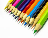 Close up of color pencils with different color Stock Photo