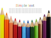 Close up of Color pencils isolated on white background Stock Photos