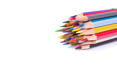 Close up of color pencils on white background Stock Image
