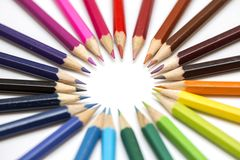 Group of color pencils on white background royalty free stock photography