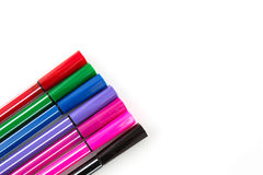 Close up of color pens Stock Photos