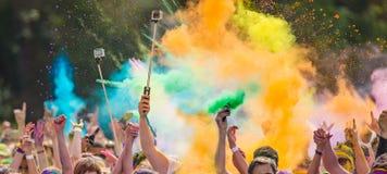 Close-up of color powder marathon Stock Photos