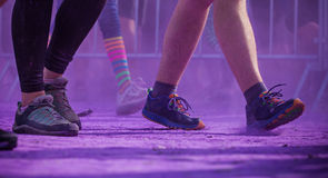 Close-up of color run marathon. Royalty Free Stock Images
