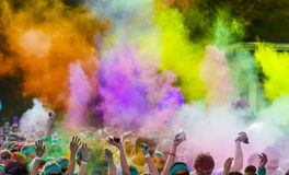 Close-up of color run marathon. Stock Photos