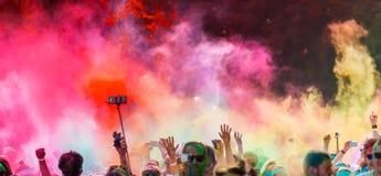 Close-up of color run marathon. Royalty Free Stock Photos