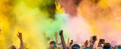 Close-up of color run marathon. Royalty Free Stock Image