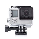 Close up color shot of a small action camera Royalty Free Stock Photos