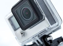 Close up color shot of a small action camera Royalty Free Stock Image