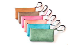 Close up color womens leather  purse isolated on white Royalty Free Stock Photo