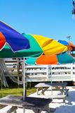 Close up of Colored Beach Umbrellas in a Sunny Day. On Blur Background. Destin Marina, Florida royalty free stock image