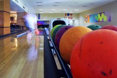Close-up of colored bowling balls stock image