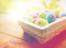 Close up of colored easter eggs in basket Stock Images