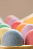 Close up of Colored Easter Eggs in Carton. Close up of colored Easter eggs in egg carton Royalty Free Stock Photos