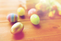Close up of colored easter eggs and flowers Royalty Free Stock Photography