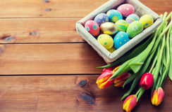 Close up of colored easter eggs and flowers Stock Photos