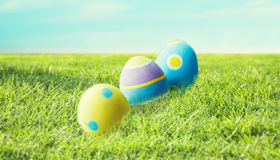 Close up of colored easter eggs on grass Royalty Free Stock Photo
