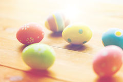 Close up of colored easter eggs on wooden surface Royalty Free Stock Photography