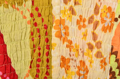 Close up on colored fabric crumpled with elastic. Royalty Free Stock Photos