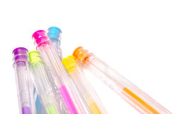 Close-up of colored fluorescent ball point pens Royalty Free Stock Photography