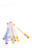 Close-up of colored fluorescent ball point pens Stock Images