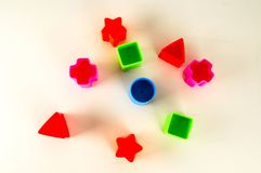 Close-up of colored geometreic plastic toy Stock Photography