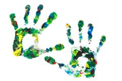 Close up of colored hand print Royalty Free Stock Photography