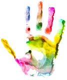 Close up of colored hand print. On white background Stock Images