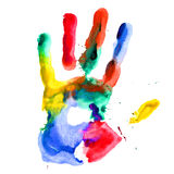 Close up of colored hand print. Stock Photo