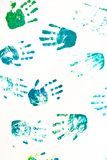 Close up of colored hand print on white background Stock Images