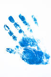Close up of colored hand print on white background Royalty Free Stock Photo