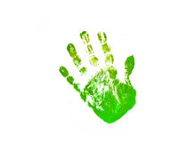 Close up of colored hand print on white background Royalty Free Stock Images