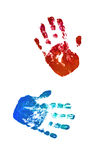 Close up of colored hand print on white background Stock Image