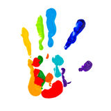 Close up of colored hand print Royalty Free Stock Photo