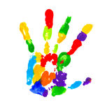 Close up of colored hand print. On white background Stock Photography