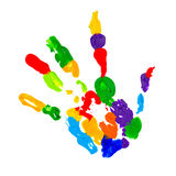 Close up of colored hand print Royalty Free Stock Images