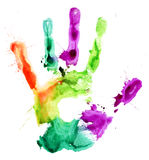 Close up of colored hand print on white Royalty Free Stock Photos