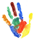 Close up of colored hand print on white Royalty Free Stock Images