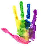 Close up of colored hand print on white Stock Photography