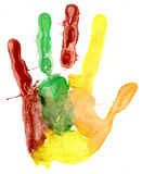 Close up of colored hand print on white Stock Image