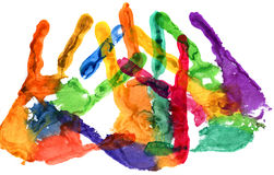 Close up of colored hand print on white Royalty Free Stock Photo