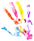 Close up of colored hand print on white Royalty Free Stock Photography