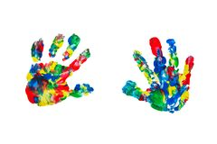 Close up of colored hands print on white background royalty free stock photos